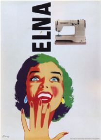 ADVERT UK SEWING MACHINE ELNA SMILE POSTER